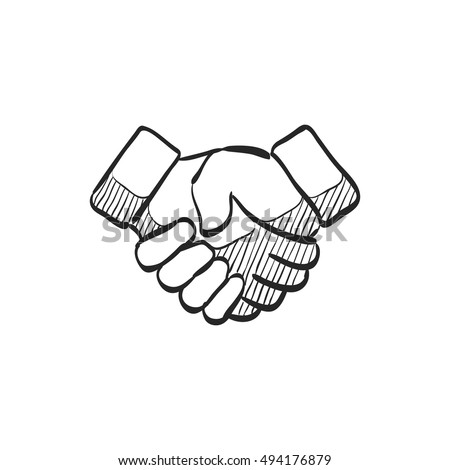 Handshake icon in doodle sketch lines. Business people agreement