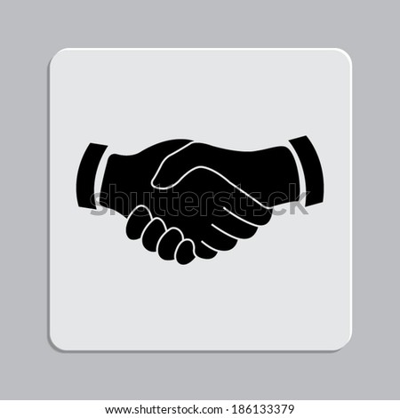 handshake icon on a grey flat button  - stock vector