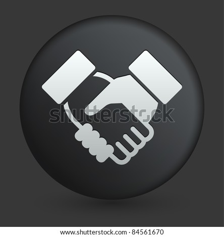 Handshake Icon on Round Black Button Collection Original Illustration - stock vector