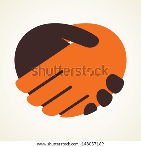 handshake icon stock vector - stock vector