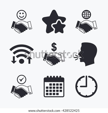 Handshake icons. World, Smile happy face and house building symbol. Dollar cash money. Amicable agreement. Wifi internet, favorite stars, calendar and clock. Talking head. Vector - stock vector
