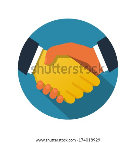 Handshake illustration - stock vector