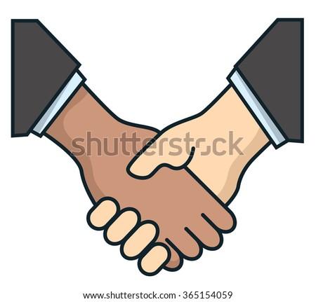Handshake in flat style. Business agreement handshake - stock vector