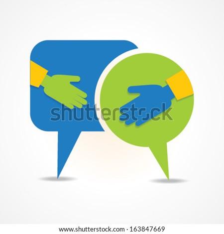 handshake in message bubble vector - stock vector