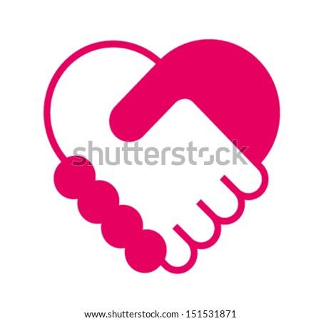 Handshake in the form of heart - stock vector