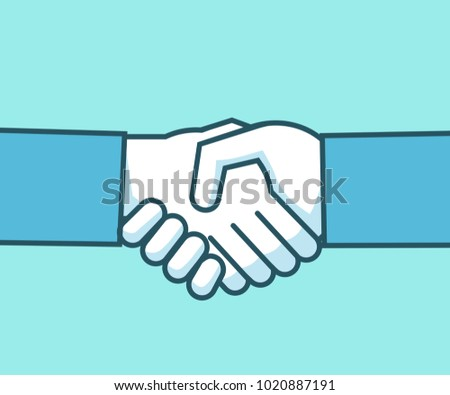 Handshake isolated line illustration. Successful negotiation, deal, business. Simple style vector illustration