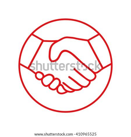 Handshake - line icon. - stock vector