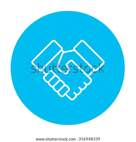 Handshake line icon for web, mobile and infographics. Vector white icon on the light blue circle isolated on white background. - stock vector
