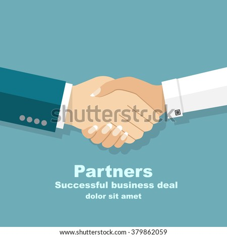 Handshake men and women. Handshake of business people partners businessmen and businesswomen. Hand shaking meeting agreement. Vector flat design. Symbol of successful transaction.  - stock vector