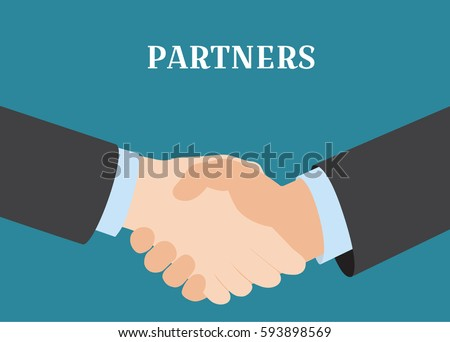 Handshake of business partners.Vector cartoon illustration. Symbol of success deal, happy partnership, greeting shake, casual handshaking agreement flat sign design isolated on blue background.