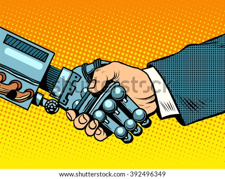 Handshake of robot and man. New technologies evolution - stock vector