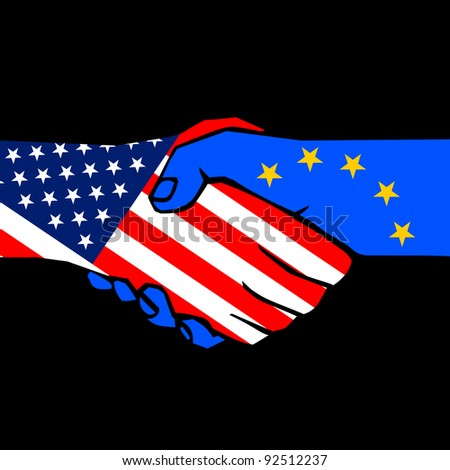 handshake of two states on black - stock vector