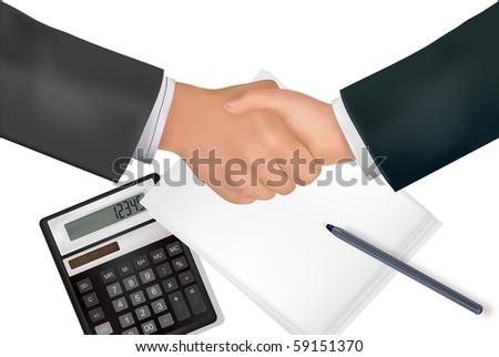 Handshake over paper with pen and calculator. Vector. - stock vector