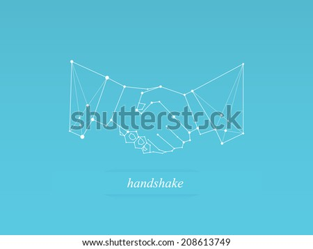 Handshake polygonal icon - stock vector