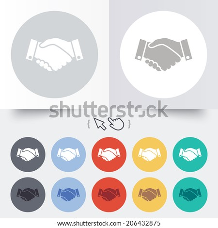 Handshake sign icon. Successful business symbol. Round 12 circle buttons. Shadow. Hand cursor pointer. Vector - stock vector