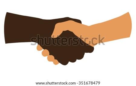 handshake silhouette - stock vector