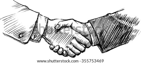 Handshake Sketch-Isolated Hand drawn Business agreement