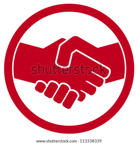 handshake symbol (handshake emblem, handshake sign) - stock vector