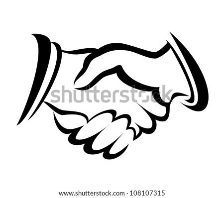 handshake symbol, vector sketch in simple lines - stock vector