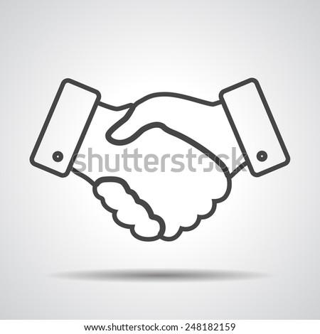 handshake thin line design icon - vector illustration - stock vector