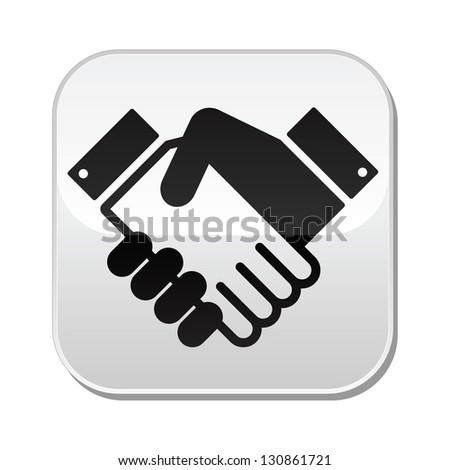 Handshake vector button - agreement, business concept - stock vector