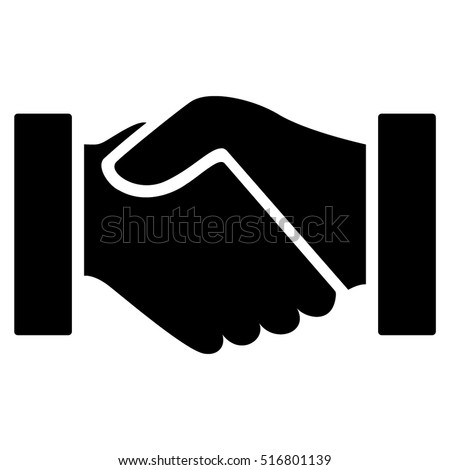 Handshake vector icon. Flat black symbol. Pictogram is isolated on a white background. Designed for web and software interfaces.