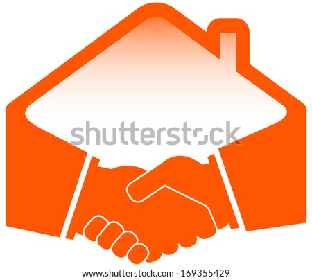 handshake with roof - construction or real estate symbol - stock vector