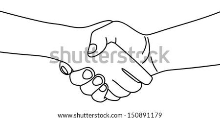 handshaking, illustration - stock vector