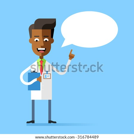Handsome african american doctor in medical uniform holding up his index finger and giving advice. Attractive physician speaking with speech bubble. Stock vector character in flat design. - stock vector
