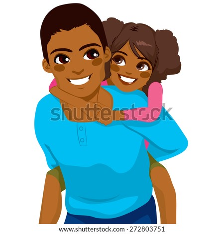 Handsome African American young father with his daughter on piggyback ride smiling happy together - stock vector