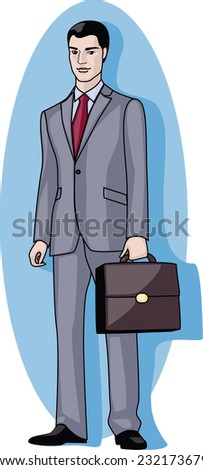 handsome and young businessman standing with brown case