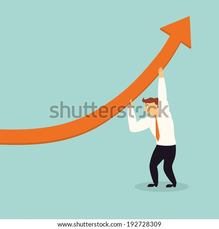 handsome business man lift graph arrow higher,successful concept,illustration,vector