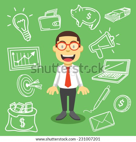 Handsome businessman. Creative vector flat illustration. Cute mascot concept. Isolated on background with business items,things,equipment icons,pictograms,symbols. Trendy style graphic design elements - stock vector