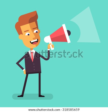 Handsome businessman in formal suit holding megaphone and shouting in it. Cartoon character - cute manager with bullhorn. Business concept. Vector flat design illustration. - stock vector