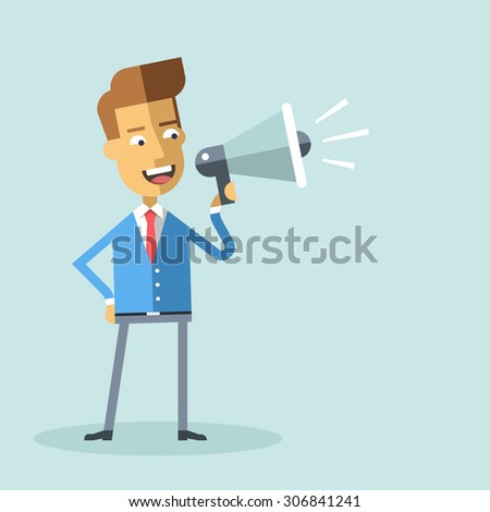 Handsome businessman in formal suit holding megaphone and shouting in it. Cartoon character - happy manager with bullhorn. Business concept. Vector flat design illustration. - stock vector