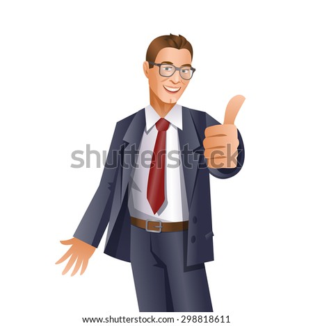 Handsome businessman showing thumbs up gesture on white background - stock vector