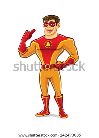 handsome cartoon superhero wearing a mask is standing with thumb up and happy smiling - stock vector