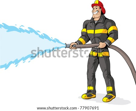 Handsome Firefighter using a fire hose. - stock vector