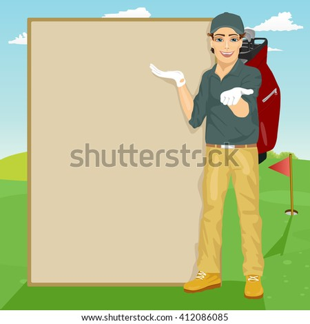 handsome golfer showing something on blank board standing on golf course - stock vector