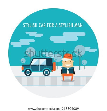 Handsome guy in stylish clothes standing near his cool car. Cute cartoon character. Vector illustration