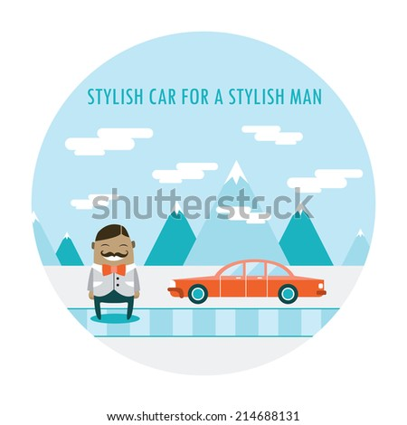 Handsome hipster guy in stylish clothes standing near his cool car. Cute cartoon character. Vector illustration