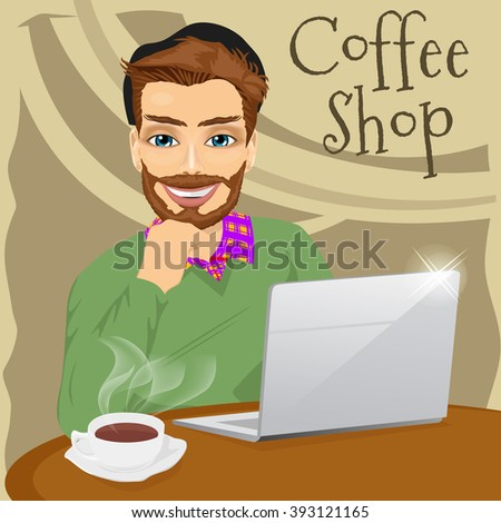 handsome hipster man with laptop in coffee shop - stock vector