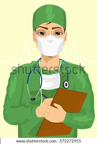 handsome male doctor or nurse in face mask taking notes - stock vector