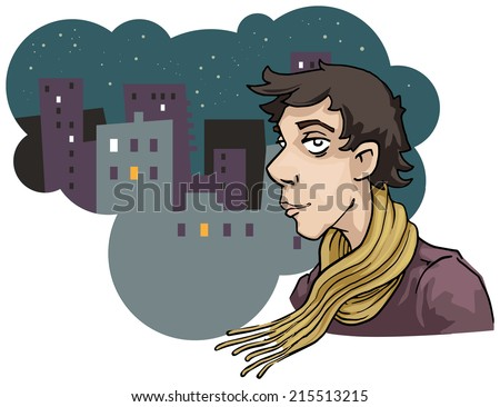 handsome man portrait, speech bubble with urban landscape, vector illustration - stock vector