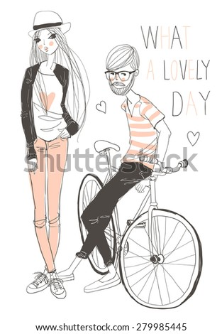 Handsome man with young girl and retro bicycle - stock vector