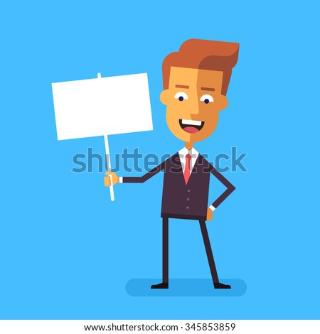 Handsome manager in formal suit holding a poster. Cartoon character - cute businessman. Stock vector illustration in flat design. - stock vector