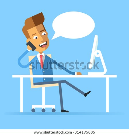Handsome manager in formal suit sitting legs crossed at the desk with a computer and talking on cell phone. Cartoon character - businessman. Stock vector illustration style flat.  - stock vector