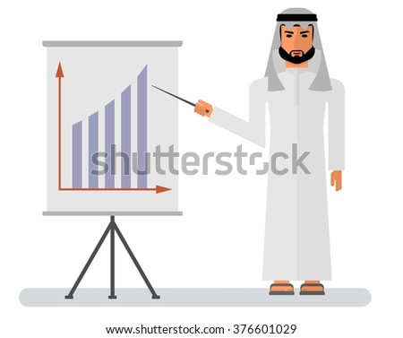 Handsome Saudi Arab Man in Traditional Dress Teaching while Smiling with White Board. Vector illustration of Arabic man character image. - stock vector