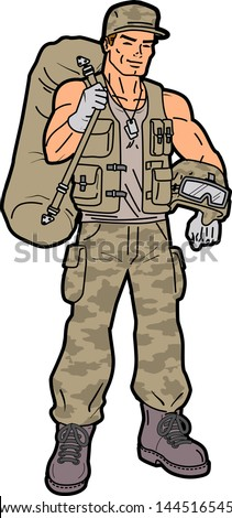 Handsome Smiling American Soldier with Duffel Bag - stock vector
