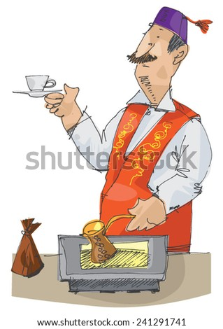 handsome turkish man making traditional coffee - cartoon - stock vector